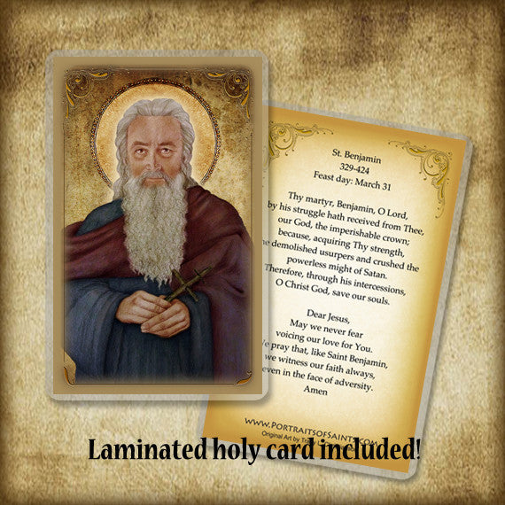 St. Benjamin Plaque & Holy Card Gift Set