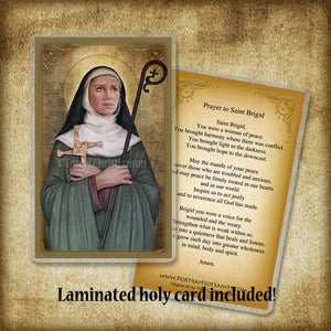 St. Brigid of Ireland Plaque & Holy Card Gift Set