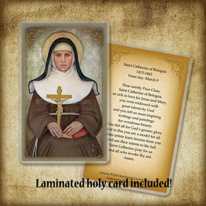 St. Catherine of Bologna Plaque & Holy Card Gift Set