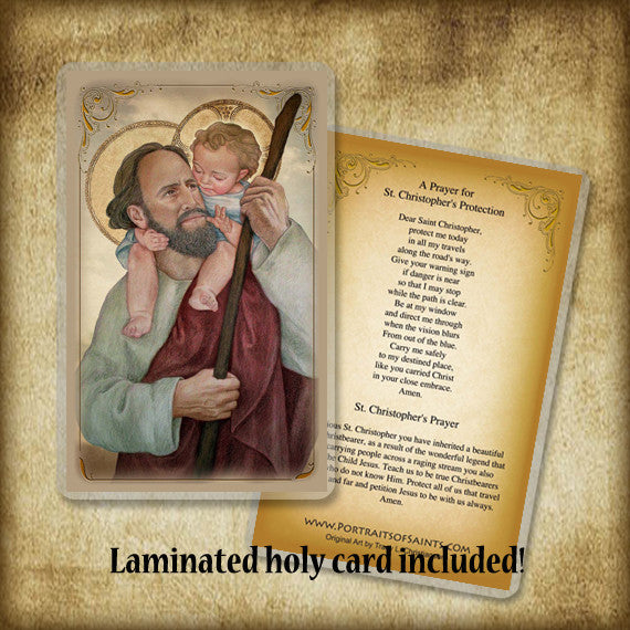 St. Christopher Plaque & Holy Card Gift Set