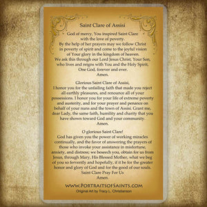 St. Clare of Assisi Holy Card