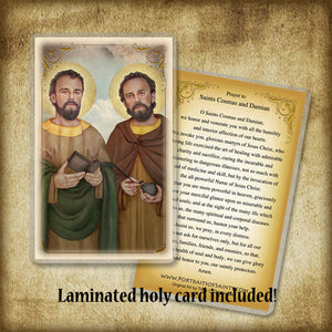 St. Cosmas and St. Damian Plaque & Holy Card Gift Set
