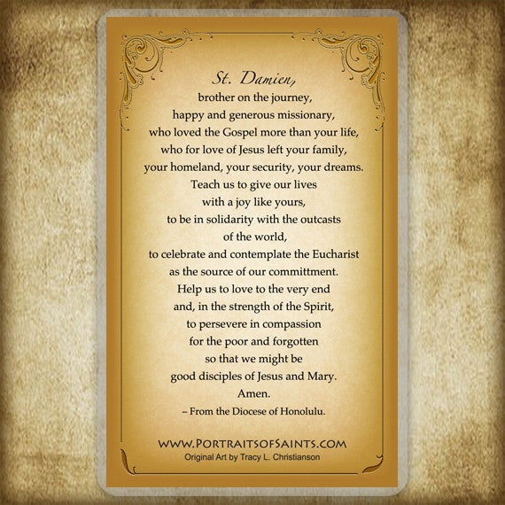 St. Damien of Molokai Holy Card