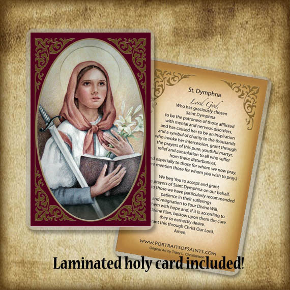 St. Dymphna Plaque & Holy Card Gift Set