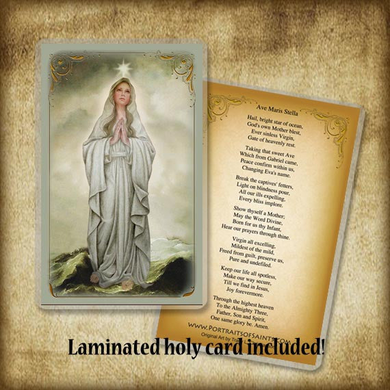 Our Lady, Star of the Sea Plaque & Holy Card Gift Set