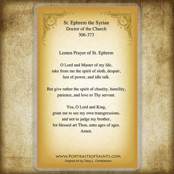 St. Ephrem the Syrian Holy Card