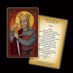 St. Eric IX, King of Sweden Holy Card