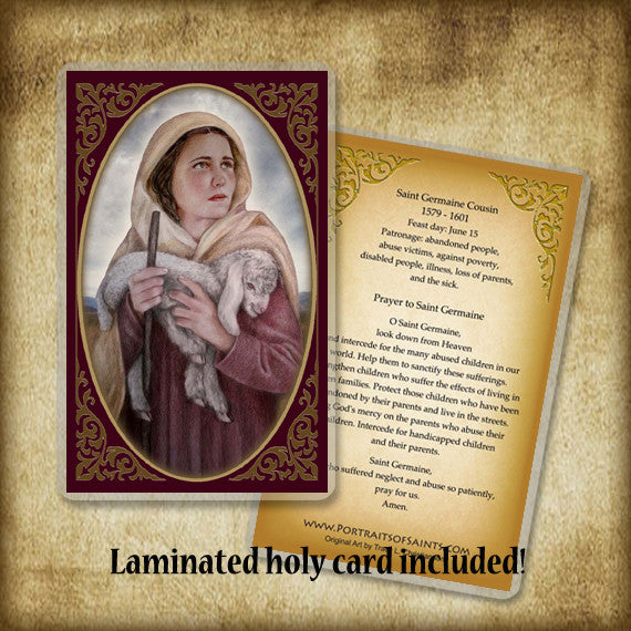 St. Germaine Cousin Plaque & Holy Card Gift Set