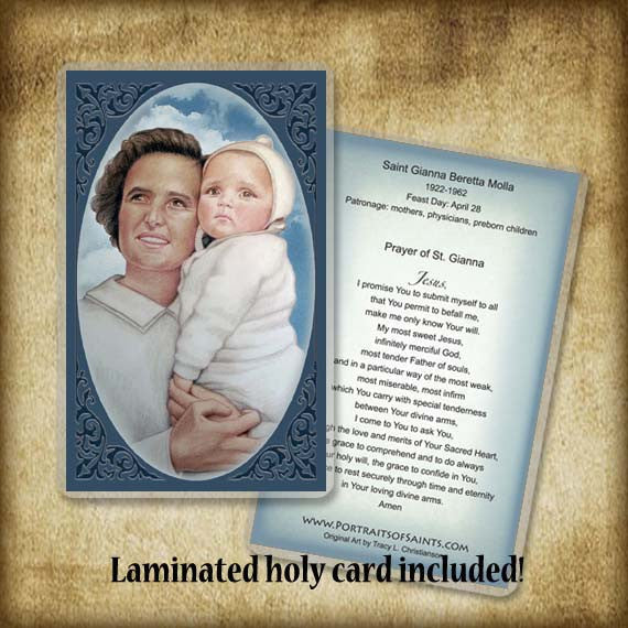 St. Gianna Molla Plaque & Holy Card Gift Set