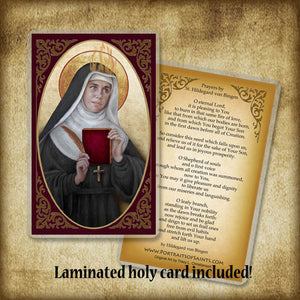 St. Hildegard of Bingen Plaque & Holy Card Gift Set