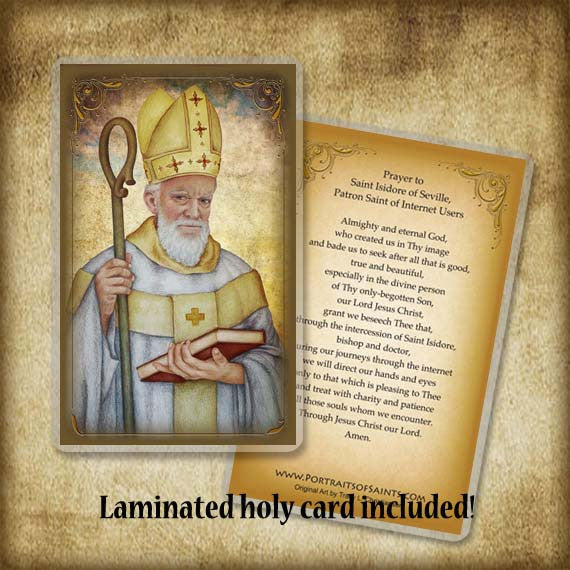 St. Isidore of Seville Plaque & Holy Card Gift Set
