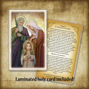 St. Joachim and St. Anne with the Child Mary, Pendant & Holy Card Gift Set