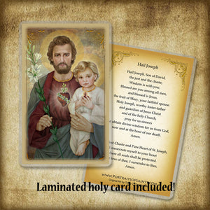 St. Joseph, The Most Chaste Heart, Plaque & Holy Card Gift Set