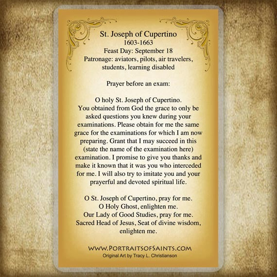 St. Joseph of Cupertino Holy Card