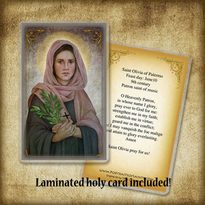 St. Olivia Plaque & Holy Card Gift Set