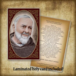 St. Padre Pio (A) Plaque & Holy Card Gift Set