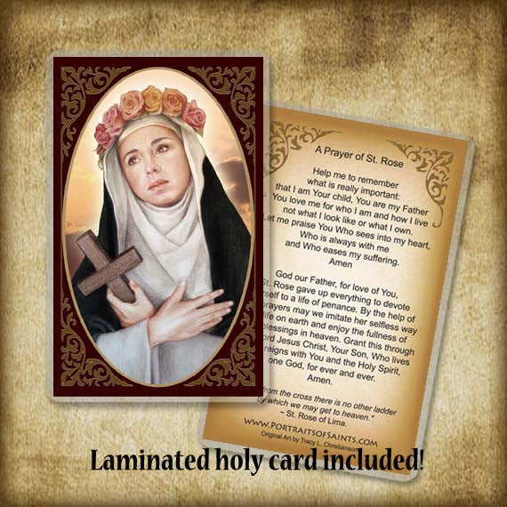 St Rose Of Lima Plaque Amp Holy Card Gift Set Portraits