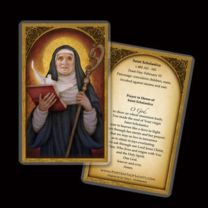St. Scholastica Holy Card