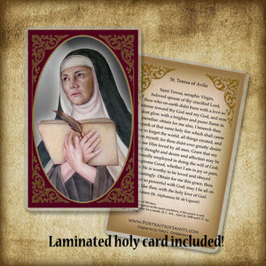 St. Teresa of Avila Plaque & Holy Card Gift Set