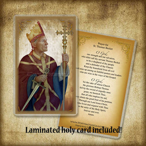 St. Thomas Becket Plaque & Holy Card Gift Set