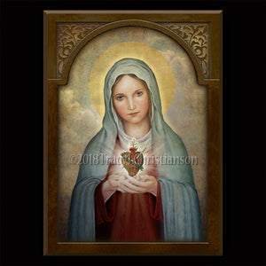Immaculate Heart of Mary (A) Plaque & Holy Card Gift Set