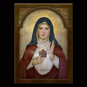 Immaculate Heart of Mary (B) Plaque & Holy Card Gift Set