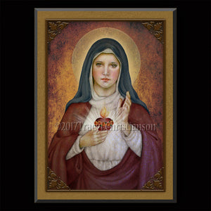 Immaculate Heart (E) Plaque & Holy Card Gift Set