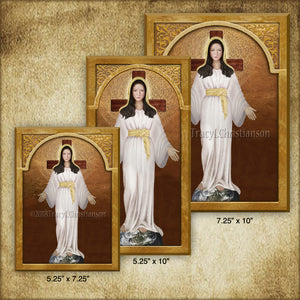 Our Lady of Akita Plaque & Holy Card Gift Set