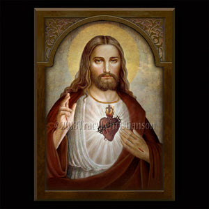 Sacred Heart of Jesus (B) Plaque & Holy Card Gift Set