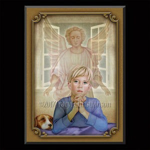 Guardian Angel/Boy Plaque & Holy Card Gift Set