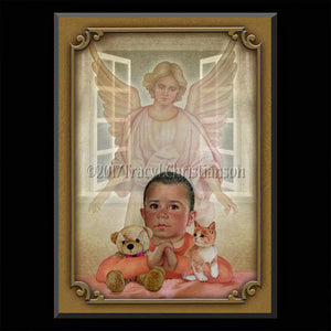 Guardian Angel/Boy (B) Plaque & Holy Card Gift Set