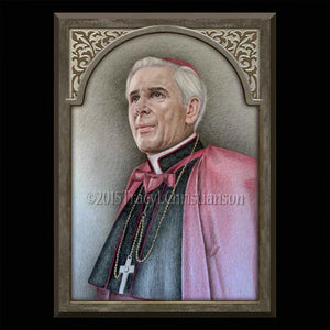Venerable Bishop Fulton Sheen Plaque & Holy Card Gift Set