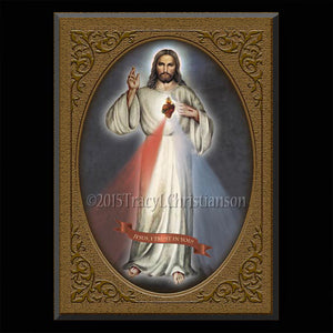 Divine Mercy Plaque & Holy Card Gift Set