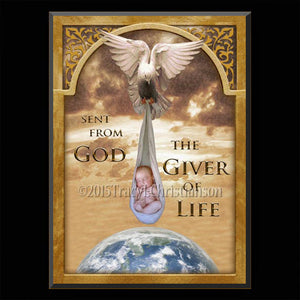 Giver of Life Plaque & Holy Card Gift Set