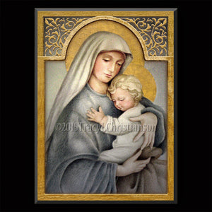Madonna & Child (C) Plaque & Holy Card Gift Set