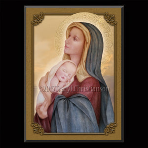 Madonna & Child (E) Plaque & Holy Card Gift Set