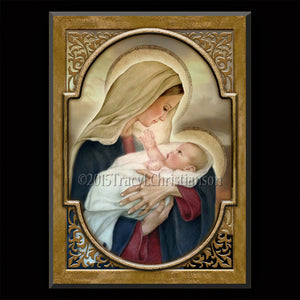 Madonna & Child (F) Plaque & Holy Card Gift Set