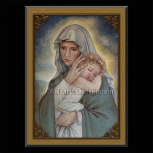 Madonna & Child (J) Plaque & Holy Card Gift Set
