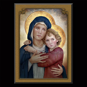 Madonna & Child (M) Plaque & Holy Card Gift Set