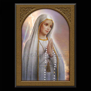 Our Lady of Fatima Plaque & Holy Card Gift Set
