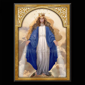 Our Lady of Grace Plaque & Holy Card Gift Set