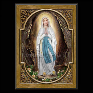 Our Lady of Lourdes Plaque & Holy Card Gift Set