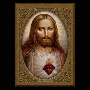 Sacred Heart (C) Plaque & Holy Card Gift Set