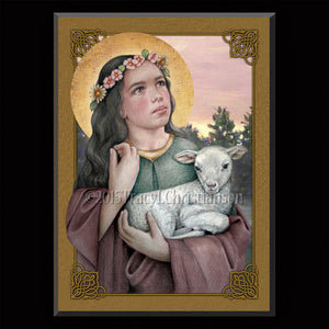 St. Agnes of Rome Plaque & Holy Card Gift Set