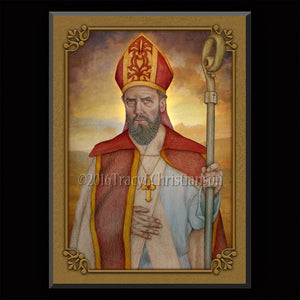 St. Anselm of Canterbury Plaque & Holy Card Gift Set