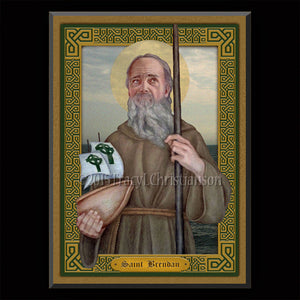 St. Brendan the Navigator Plaque & Holy Card Gift Set