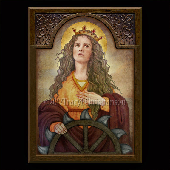 St. Catherine of Alexandria Plaque & Holy Card Gift Set