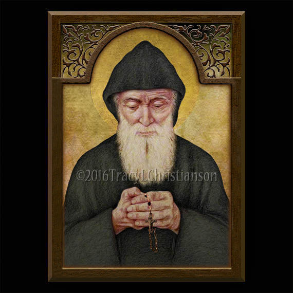 St. Charbel Makhlouf Plaque & Holy Card Gift Set
