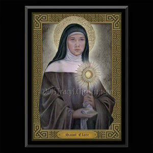 St. Clare of Assisi  Plaque & Holy Card Gift Set