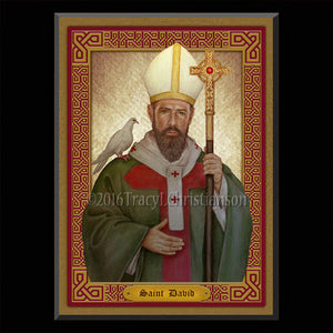 St. David of Wales Plaque & Holy Card Gift Set